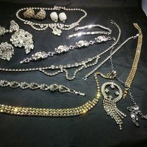 Vintage rhinestone jewelry glass art deco
